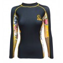 Fuji Sports Women's Kimono Rash Guard Black/Gold #2507